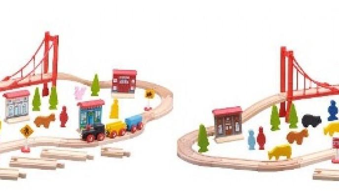 Carousel Wooden 60 Piece Train Set 884 At Tesco Direct