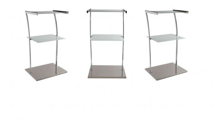 the best attitude d510b 6a629 3 Tier Glass Shelf Freestanding Chrome Shelf Unit With Base ...
