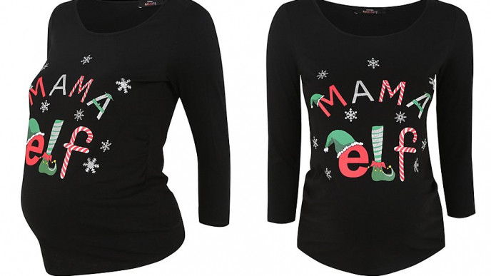 e9e5341315eb6 Maternity Mama Elf Christmas Top @ Asda George