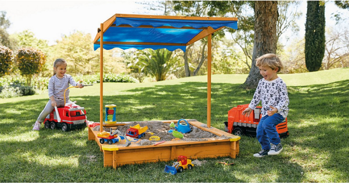 Playtive Junior Sandpit With Sun Shade 163 39 99 Lidl